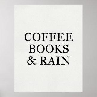 Poster Livres et pluie de café - sur le papier