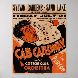 Poster Locations 1933 d'affiche de concert de Cab