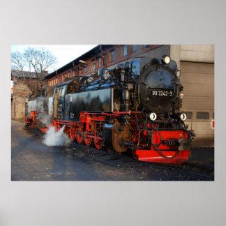 Poster Locomotive à vapeur allemande