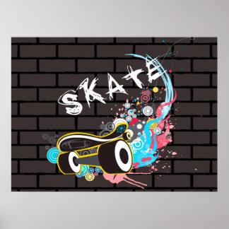 Poster Logo de graffiti de patin de mur de briques avec