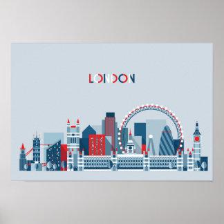 Poster Londres, Angleterre horizon rouge, blanc et bleu
