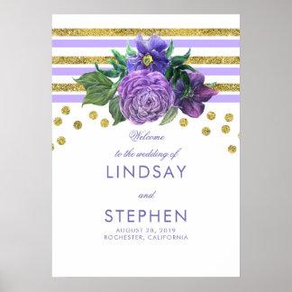 Poster L'or barre l'accueil pourpre lilas floral de