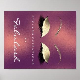 Poster L'or de nom de salon de beauté de maquillage