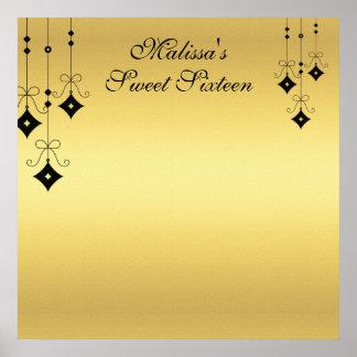 Poster L'or de sweet sixteen et noirs signent dedans le