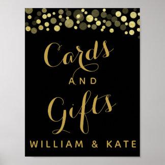 Poster L'or et les cartes et les cadeaux party ou le