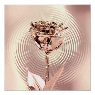 Poster L'or rose de fleur rougissent le cercle en soie