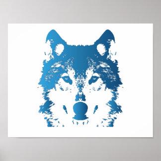 Poster Loup de bleu glacier d'illustration