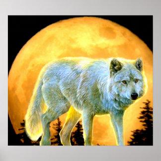 Poster loup de pleine lune de clair de lune de forêt de