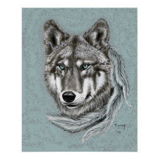 Poster Loup gris
