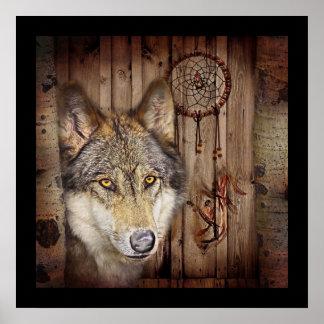 Poster Loup indien indigène de receveur rêveur occidental