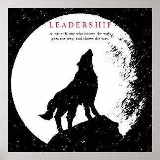 Poster Loup inspiré blanc noir carré de direction