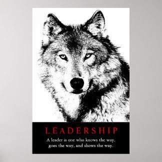 Poster Loup inspiré blanc noir de direction