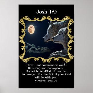 Poster Loups de 1:9 de Josh regardant dans la pleine lune