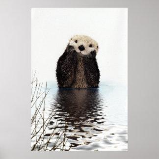 Poster Loutre de sourire adorable dans le lac