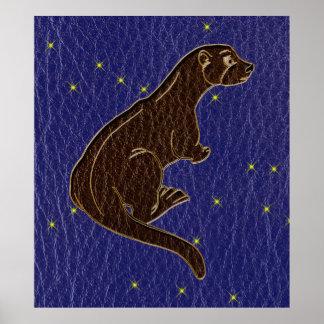 Poster Loutre simili cuir de zodiaque de Natif américain