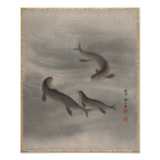 Poster Loutres nageant, Seki Shūkō, Japon