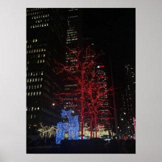 Poster Lumières de Noël de renne New York City Manhattan