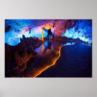 Poster Lumières en caverne tubulaire de cannelure, Chine