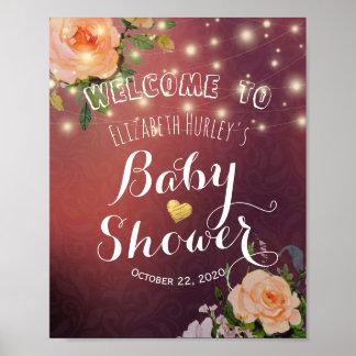 Poster Lumières florales bienvenues de ficelle de