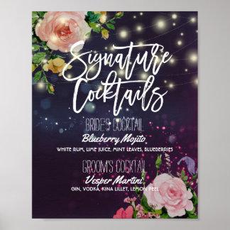 Poster Lumières florales de ficelle de menu de boissons