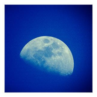 Poster Lune de ciel bleu