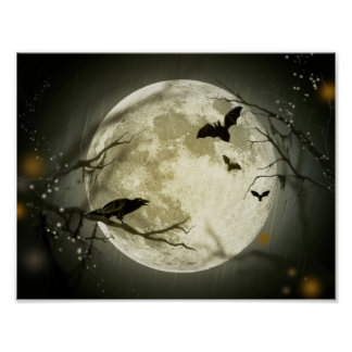Poster Lune de Halloween - illustration de pleine lune