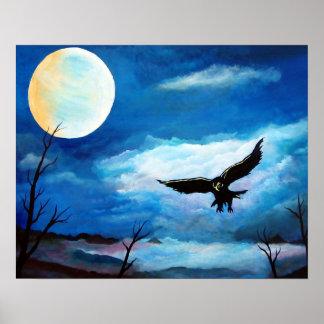 Poster Lune de nuit de faucon de chasse
