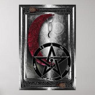 Poster Lune et pentagramme argentés de Wiccan Cresent