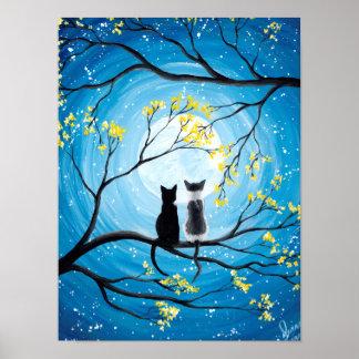 Poster Lune lunatique avec des chats