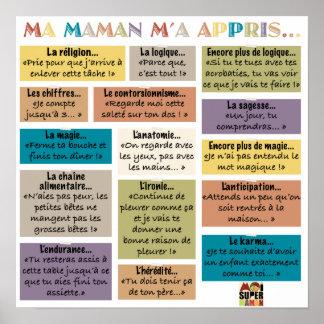 "Poster ""Ma Maman m'a appris"" - Moi Super Maman"