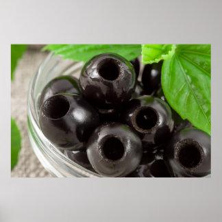 Poster Macro vue détaillée des olives noires