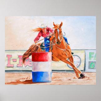 Poster Madame Barrel Racer. Contestation occidentale