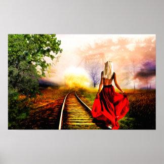 Poster Madame en rouge