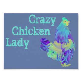 Poster Madame folle Funny Quirky Colourful Art de poulet
