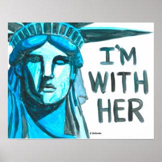 Poster Madame Liberty - je suis avec elle