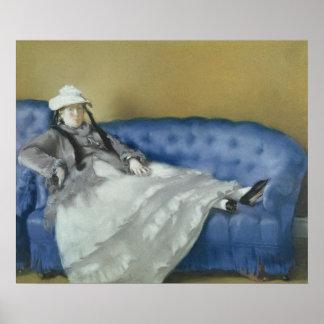 Poster Madame Manet sur un sofa bleu, 1874 de Manet |