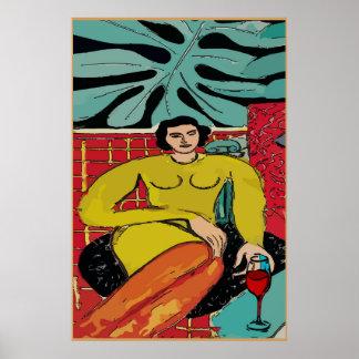 Poster Madame Matisse avec le vin rouge