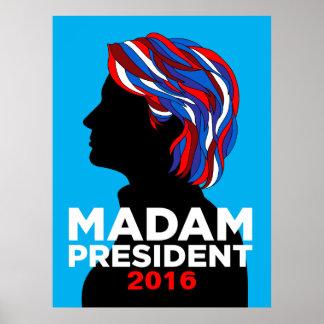 Poster Madame président de Hillary Clinton affiche 2016