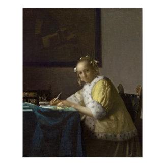 Poster Madame Writing, C. 1665 (huile sur la toile)