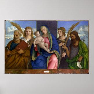 Poster Madonna et enfant avec des saints