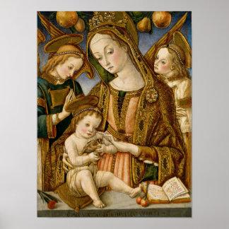 Poster Madonna et enfant avec deux anges