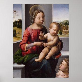 Poster Madonna et enfant avec Jean-Baptist