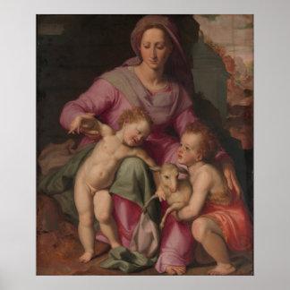 Poster Madonna et enfant avec St John le baptiste