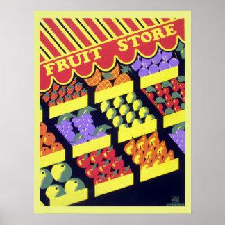 Poster Magasin vintage de fruit de WPA