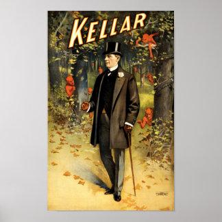 Poster Magicien Harry Kellar en bois avec des démons