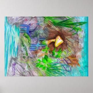 Poster Magie délicieuse fongueuse de Brown de champignon