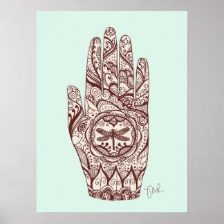 Poster Main 2 de tatouage de libellule de henné de