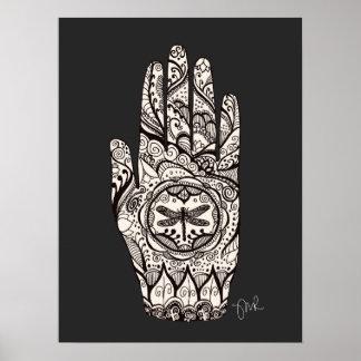Poster Main 3 de tatouage de libellule de henné de