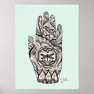 Poster Main 5 de tatouage de libellule de henné de