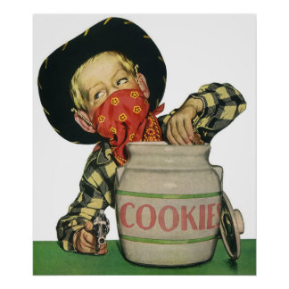 Poster Main vintage d'arme à feu de jouet de cowboy dans
